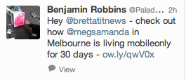 Tweet from Benjamin Robbins, author of Mobile Only.