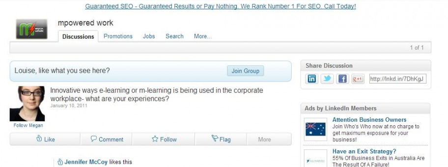 A LinkedIn Group just for mlearning/elearning