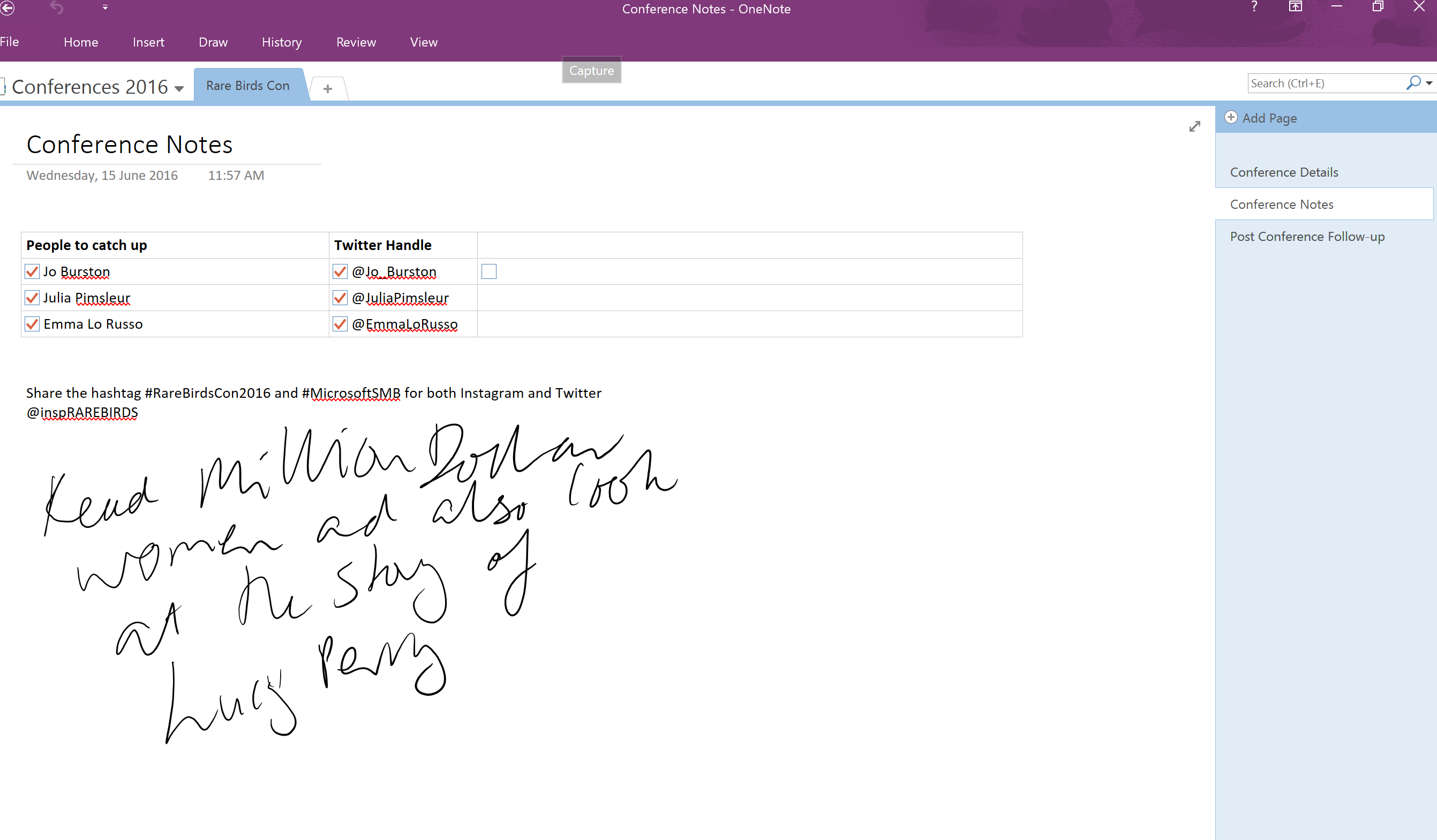 OneNote conferences