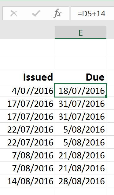 invoice due dates excel